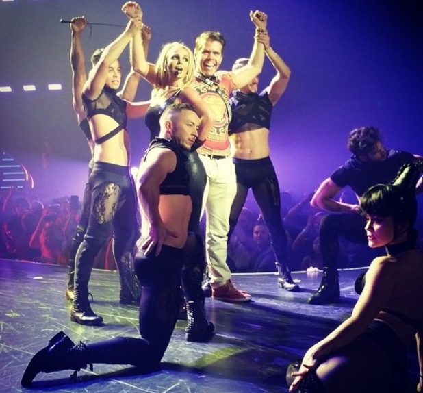 Perez Hilton joins Britney Spears on stage, Planet Hollywood Resort and Casino, Las Vegas 1 September