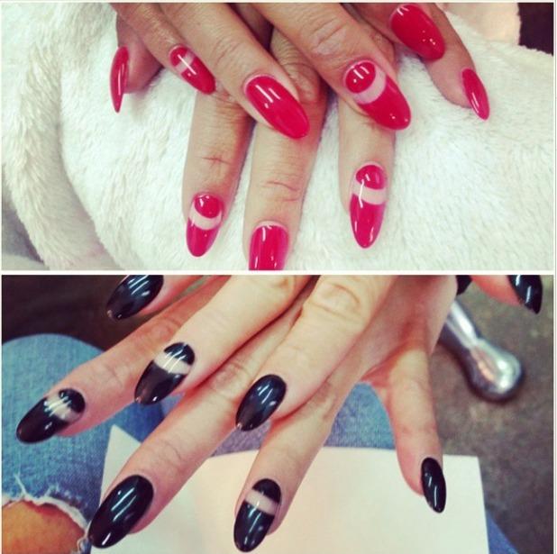 Nicole Scherzinger, negative space red and black nails, 3 September 2014