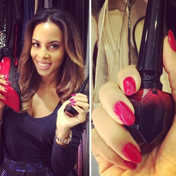 Rochelle Humes shows off her Christian Louboutin red manicure in an Instagram picture - 30 August 2014
