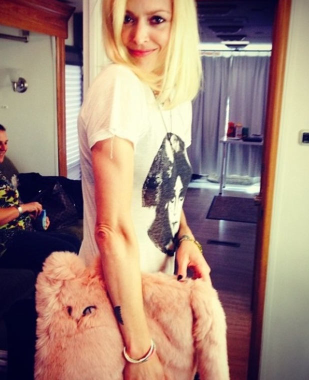 Fearne Cotton shows off faux fur cat bag from New Look - 4 September