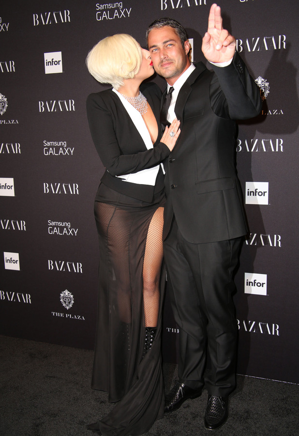 Lady Gaga and Taylor Kinney attend a New York Fashion Week party hosted by Harper's Bazaar, 5 September 2014
