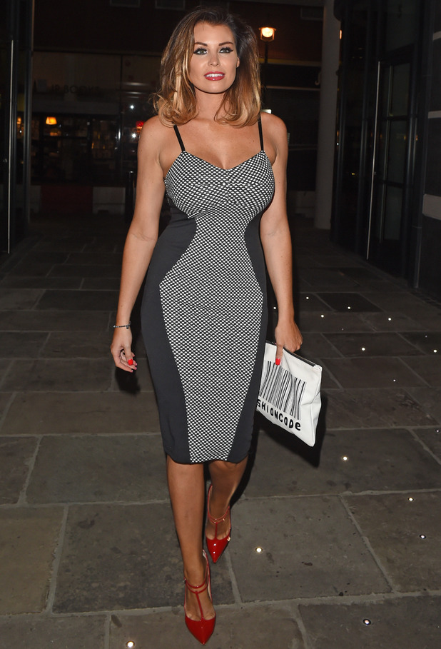 Jessica Wright seen leaving the Hamyard hotel in London after a night out celebrating her friends birthday - 4 September 2014