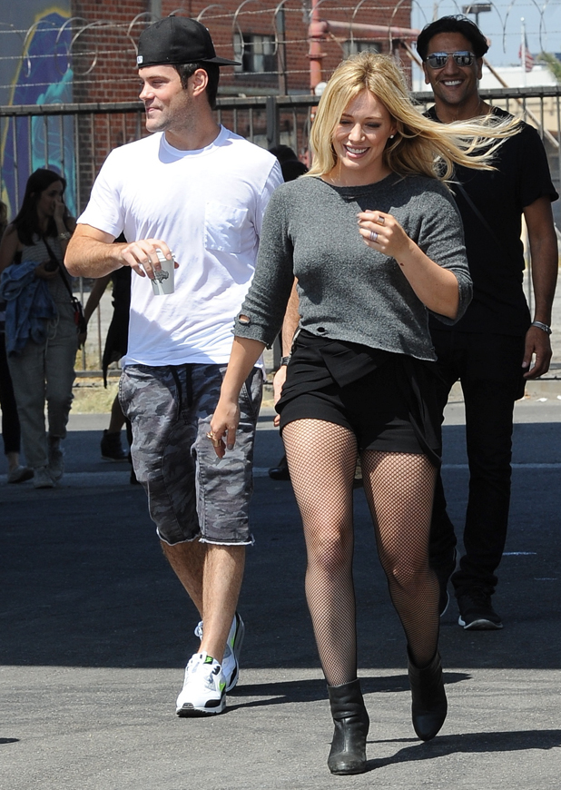 Hilary Duff is seen on set with estranged husband Mike Comrie during her new music video 'All About You', 4 September 2014