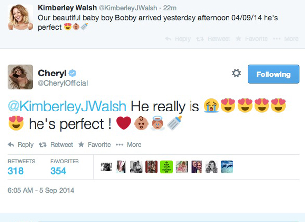 Kimberley Walsh confirms birth of baby boy Bobby, Cheryl Fernandez-Versini sends congratulations, 5 September 2014