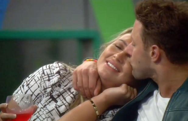 Celebrity Big Brother' TV show, Elstree Studios, Hertfordshire, Britain - 31 Aug 2014 Lauren Goodger kissing Ricci Guarnaccio