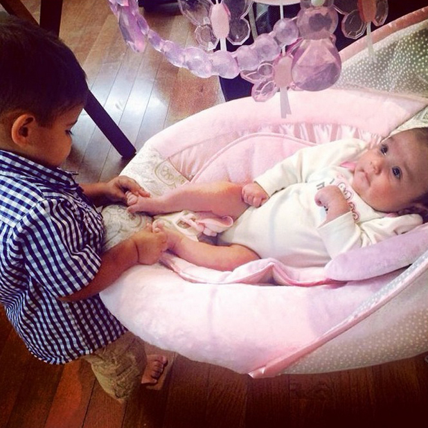 Jwoww's daughter Meilani and Snooki's son Lorenzo, August 2014