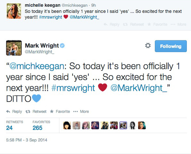 Mark Wright and Michelle Keegan mark one-year anniversary of engagement, 3 September 2014