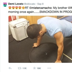 Demi Lovato tweets heart-eyed faces at picture of boyfriend Wilmer Valderrama working out 8 September
