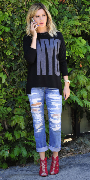 Ashley Tisdale wears ripped jeans while out in Los Angeles, America - 8 September 2014