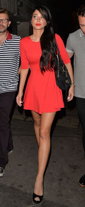 Tulisa Contostavlos stuns in red dress out and about in London, 12 Sep 2014