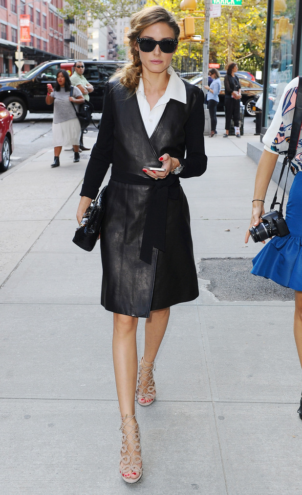 Olivia Palermo wears a leather coat while making her way to the Diane von Fürstenberg spring/summer '15 show at New York Fashion Week - 7 September 2014