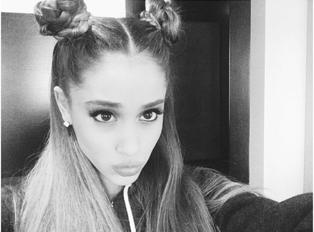 Ariana Grande shows off her double braided bun hairstyle in an Instagram selfie - 11 September 2014