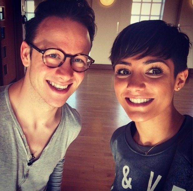 Frankie Bridge in training for Strictly with dance pro Kevin, 13.9.14
