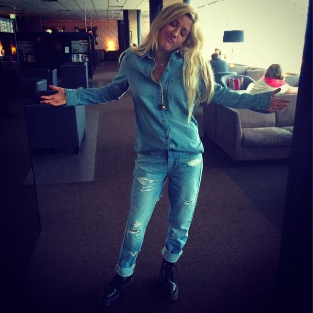 Ellie Goulding posts selfie in double denim on Instagram, 12 September 2014