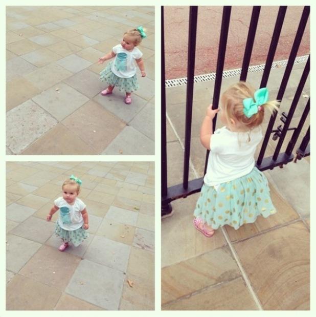 Imogen Thomas' daughter Ariana Siena chases pigeons in Chelsea, London, 10 September 2014