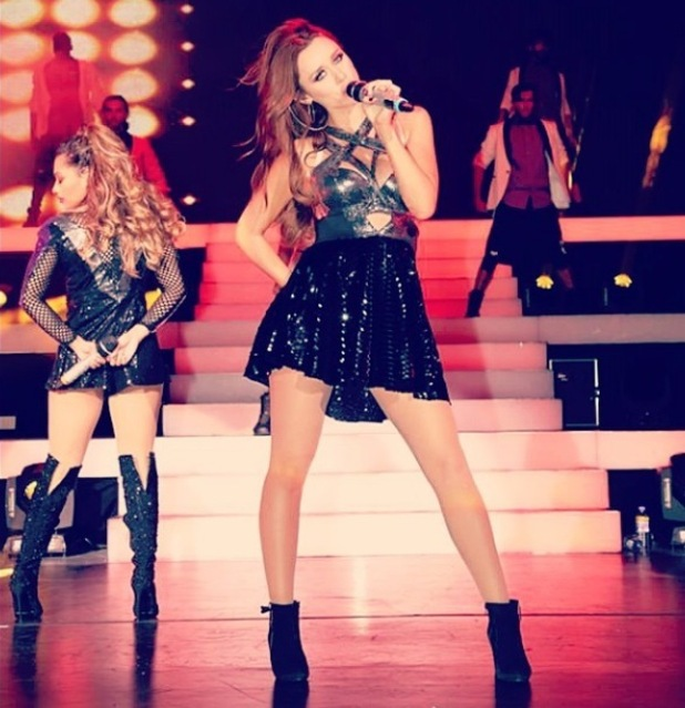 Pregnant Una Foden performs with The Saturdays in Newcastle, 9 September 2014