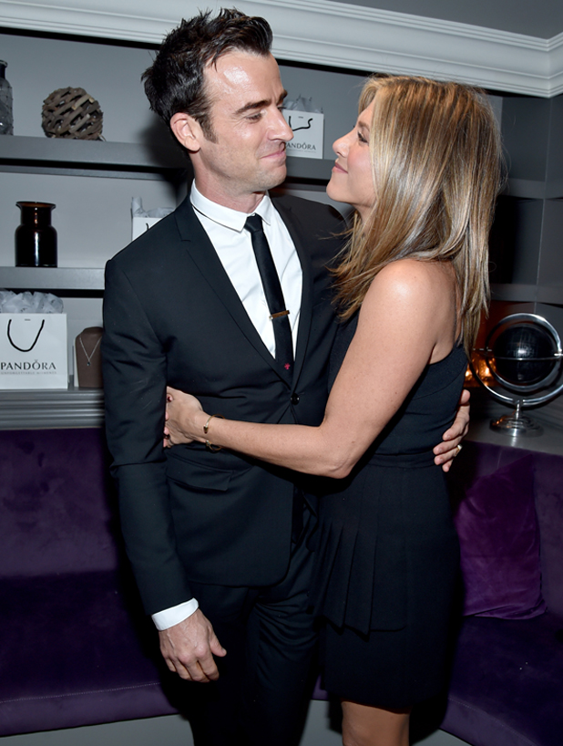 Justin Theroux and Jennifer Aniston attend the 'Cake' cocktail reception presented by PANDORA Jewelry at West Bar on September 8, 2014 in Toronto, Canada.