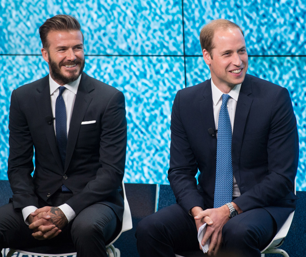 Prince William, Duke of Cambridge and David Beckham attend the launch of United for Wildlife campaign at Google Town Hall, 2014