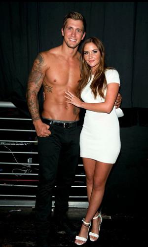 Jacqueline Jossa cuddles up to boyfriend Dan Osborne after his The Dreamboys stripper debut, 9 September 2014