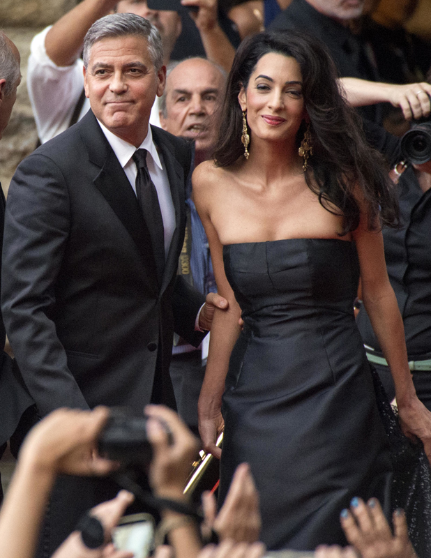 George Clooney and Amal Alamuddin at Celebrity Fight Night benefiting The Andrea Bocelli Foundation and The Muhammad Ali Parkinson Center, Tuscany, Italy, 7 September 2014