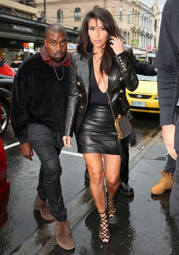 Kanye West and Kim Kardashian arrive at Kanye's Yeezus pop-up shop on Chapel Street in South Yarra 9 Sep 2014