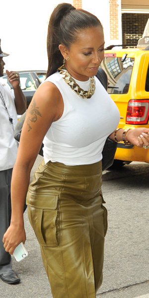 Mel B returning to the Trump SoHo hotel, 10 September 2014