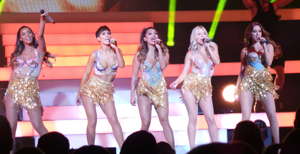 The Saturdays performing live in concert on the first night of their 'Greatest Hits Tour' at the Clyde Auditorium, 7 September 2014