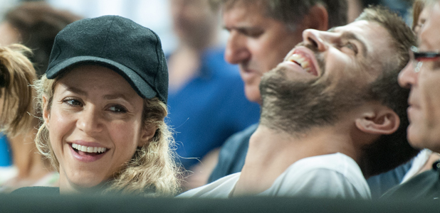 Pregnant Shakira and Gerard Pique attend the USA v Slovenia game at the Basketball World Cup 2014 in Barcelona, 9 September 2014