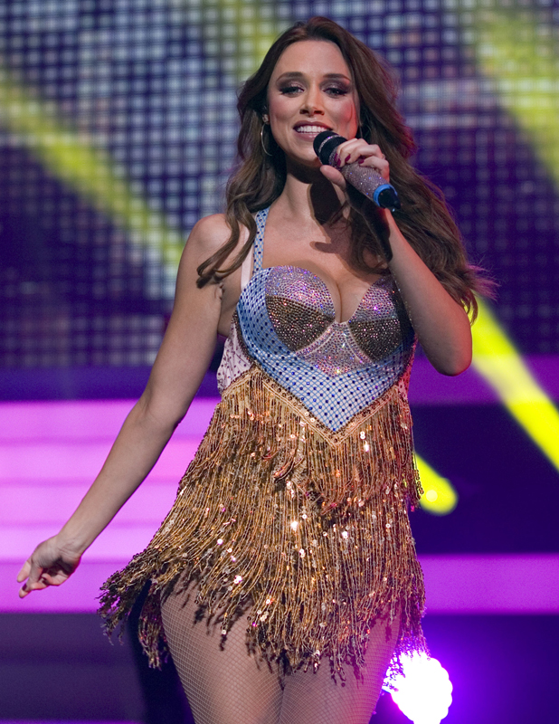 Una Foden of The Saturdays performing live in concert on the first night of their 'Greatest Hits Tour' at the Clyde Auditorium, 7 September 2014