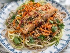 Oriental style salmon with soba noodles - a great dinner idea