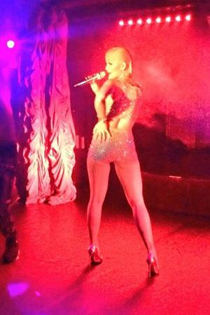 Rita Ora on stage at her secret gig at The Box in London (17 September).