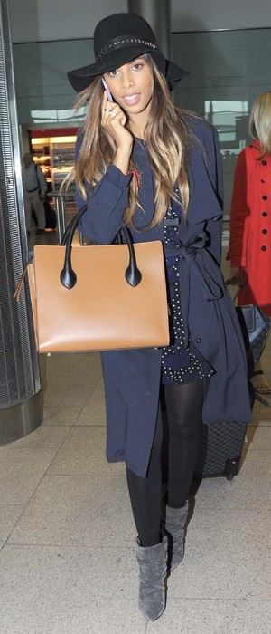 Rochelle Humes carries her Céline Boxy Handbag while arriving at Dublin Airport - Ireland - 17 September 2014