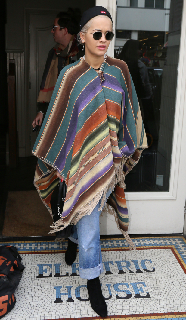 Rita Ora wears a blanket cape while out in Notting Hill, London - 17 September 2014