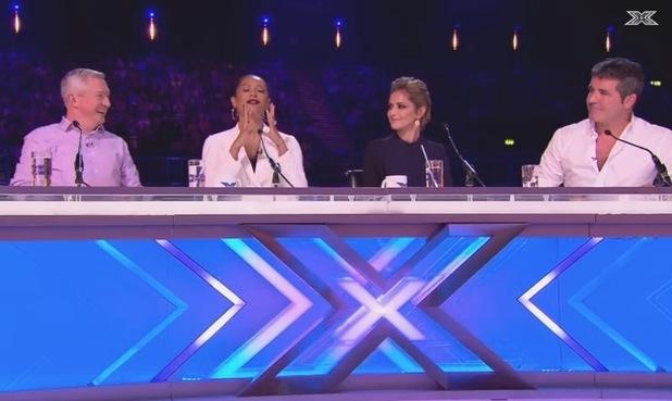 X Factor judges Simon Cowell, Mel B, Louis Walsh, Cheryl Fernandez-Versini praise singing hopeful Lauren Platt.