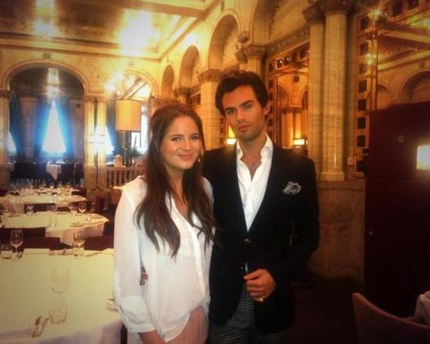 Made In Chelsea's Binky Felstead enjoyed a posh breakfast this morning with co-star Mark-Francis Vandelli (19 September).