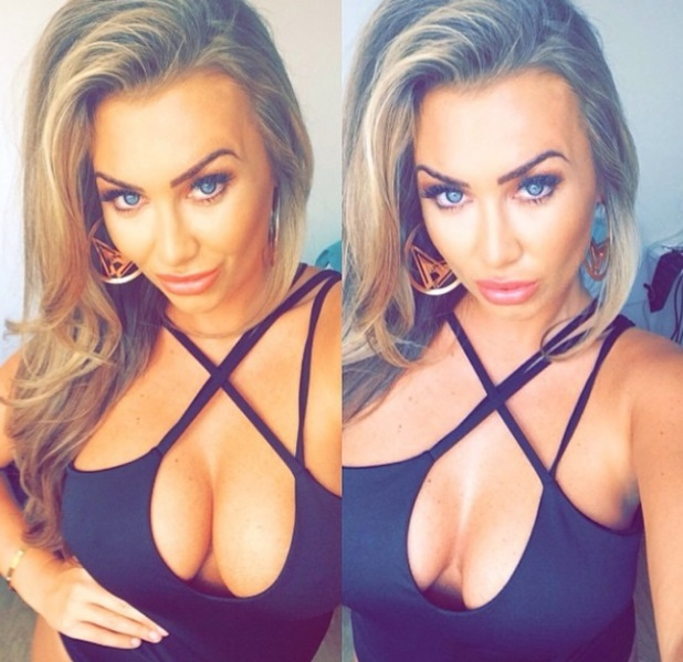Lauren Goodger flashes cleavage in swimsuit while on photoshoot, 16 September 2014