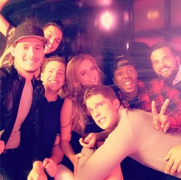 Lydia Bright takes selfie with TOWIE boys while filming series 13 advert 16 September