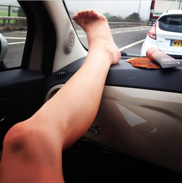 Vicky Pattison applied Rimmel Sunshimmer fake tan to her legs while in the car on way to Milton Keynes book signing, 19 September 2014