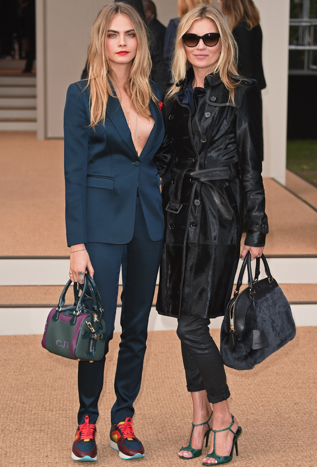 Cara and Kate at Burberry SS15