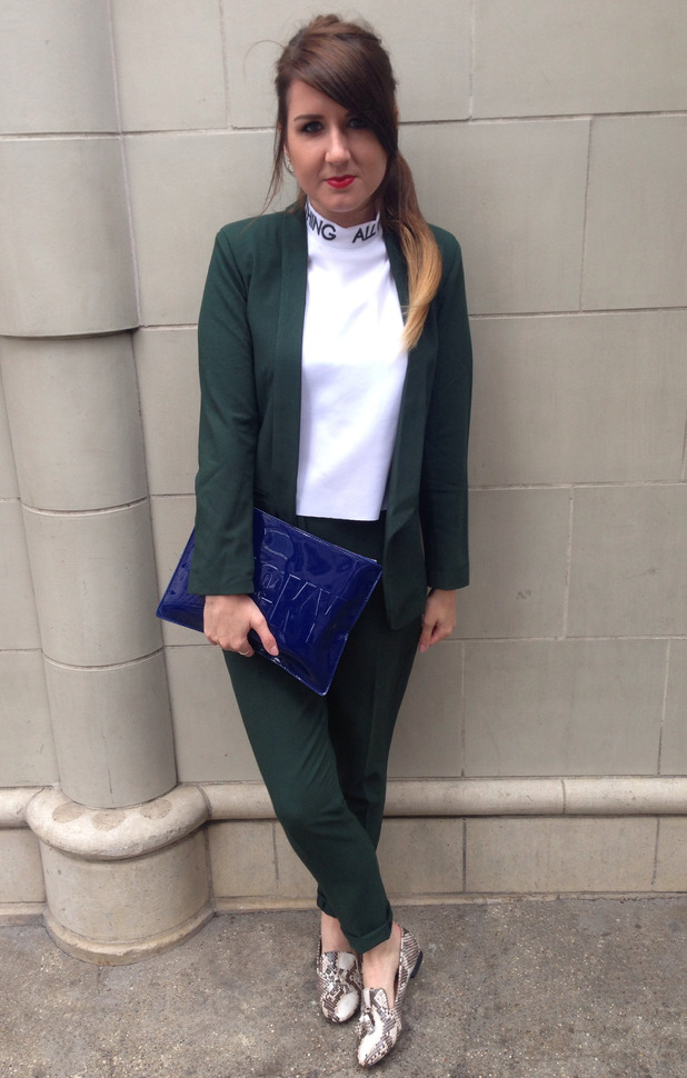 Fashion assistant Harriet Davey in Asos suit