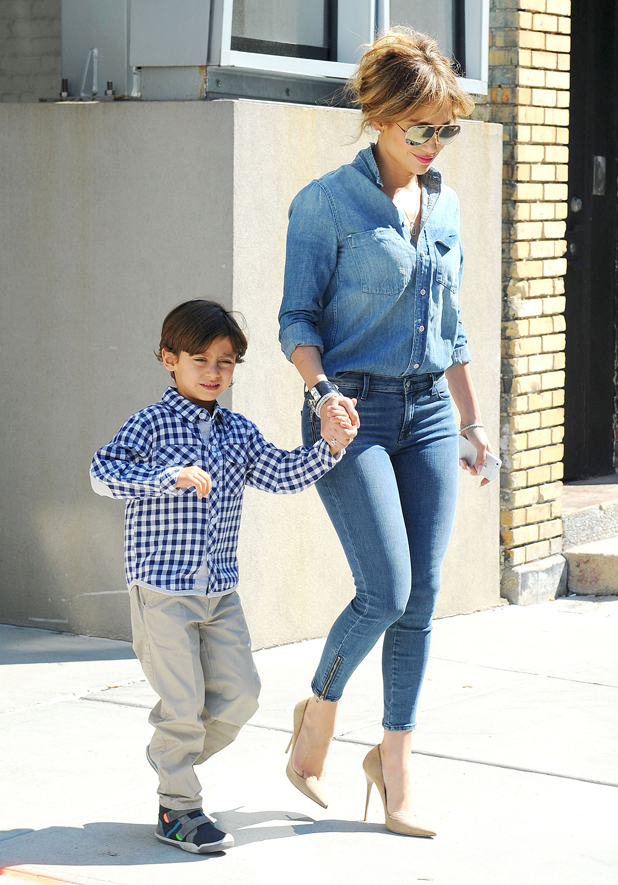 Jennifer Lopez out and about with son Max, New York, America - 18 Sep 2014