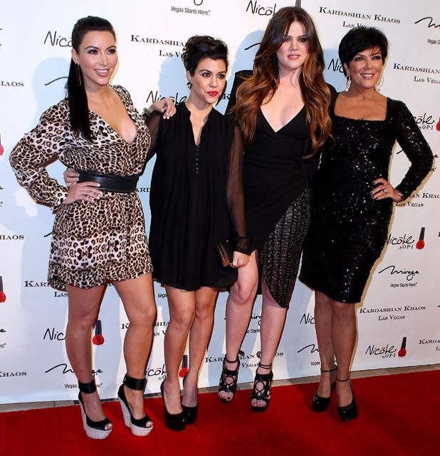Kim Kardashian, Kourtney Kardashian, Khloe Kardashian, Kris Jenner at the grand opening of the Kardashian Khaos at The Mirage Hotel and Casino. Las Vegas, Nevada - 15.12.11