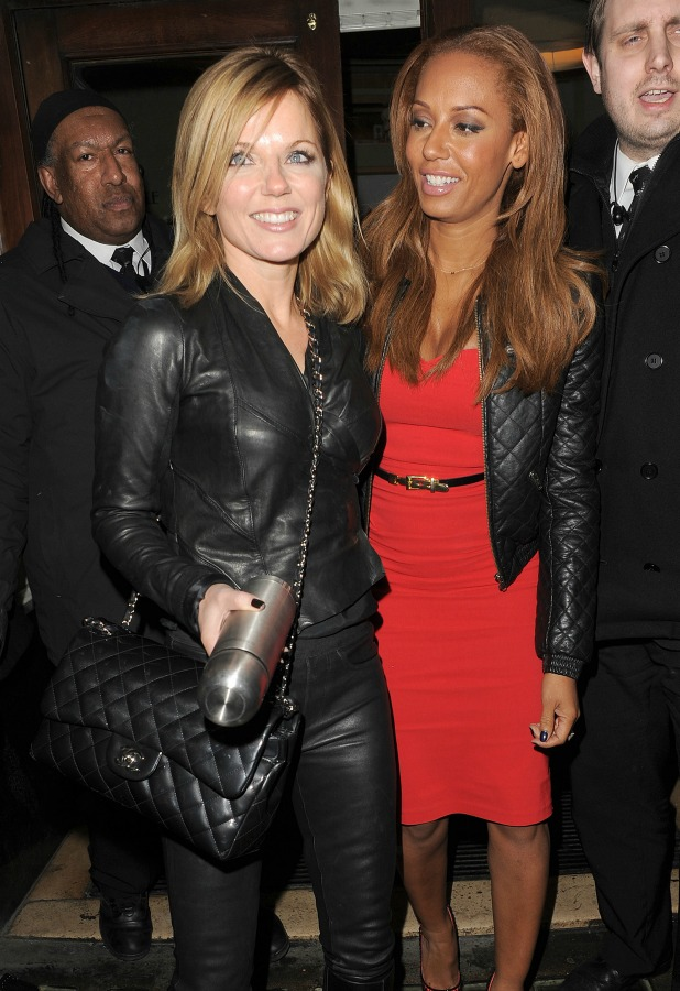 Spice Girls, Melanie Brown and Geri Halliwell are mobbed by fans as they leave the Piccadilly Theatre after watching their musical 'Viva Forever', 2013