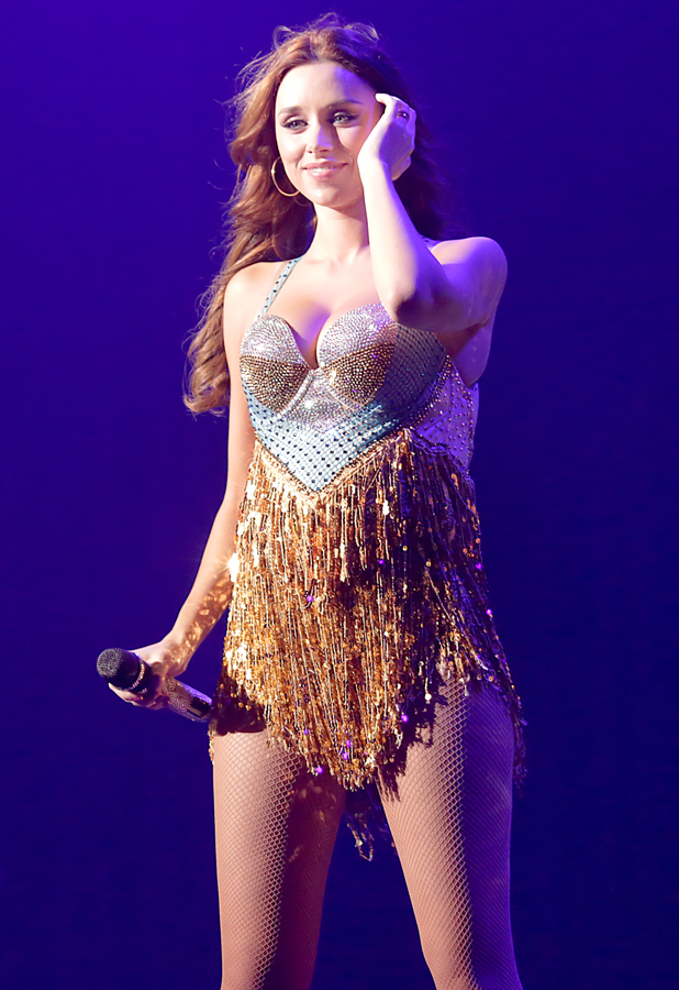 Pregnant Una Foden of The Saturdays performing live on stage at Manchester O2 Apollo, 14 September 2014