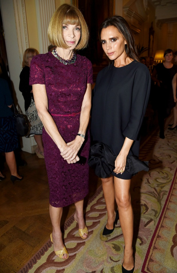 J Crew x Vogue Cocktails, Winfield House, London, Britain - 16 Sep 2014 Anna Wintour and Victoria Beckhamr