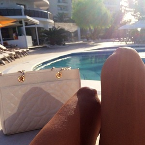 Casey Batchelor by the pool in Ibiza 21 September