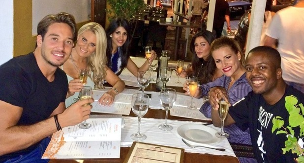 TOWIE on holiday in Ibiza, Vas and friends have dinner, Ibiza, Spain 21 September