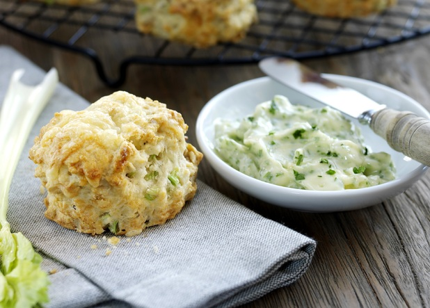 Cheese, celery and walnut scones