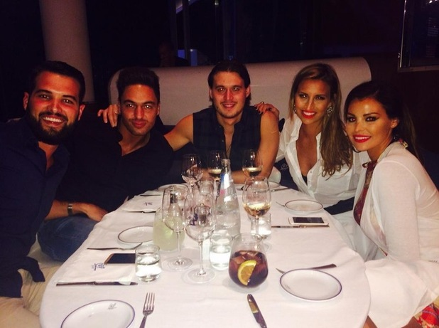 TOWIE's Ricky Rayment, Jess Wright, Mario Falcone, Ferne McCann and Charlie Sims go for dinner in Ibiza, Spain - 24 September 2014
