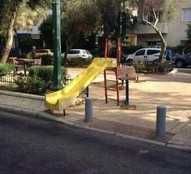 Slide facing the road from You Had One Job Twitter account